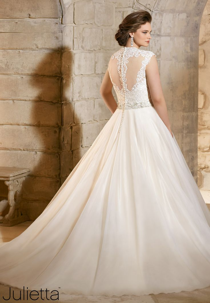 Perfect Plus Size Wedding Dresses Majestic Embroidery with Crystal Beaded Waistline on Soft Net Find this Pin and more on Julietta Morilee