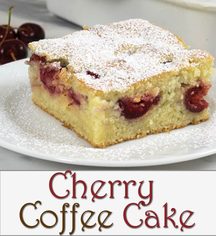 Cherry Coffee Cake - the most amazing coffee cake, perfect for breakfast, snack or as a dessert with your favorite coffee or tea. It is my go-to cake when i need something fast and easy yet incredibly delicious!