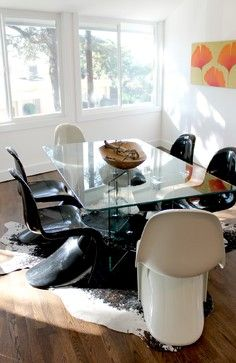 cowhide rug kitchen table - Google Search