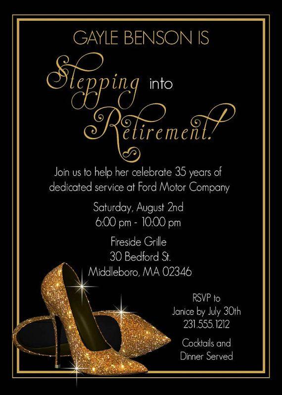 Gold Shoes Retirement Invitation - Printable Retirement ...