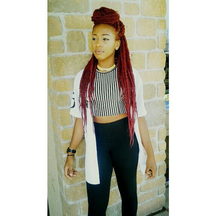 Me And My New Red Marley Twists Loving Them Instagram Westafricangurll Hair In 2018 Braids Natural Styles