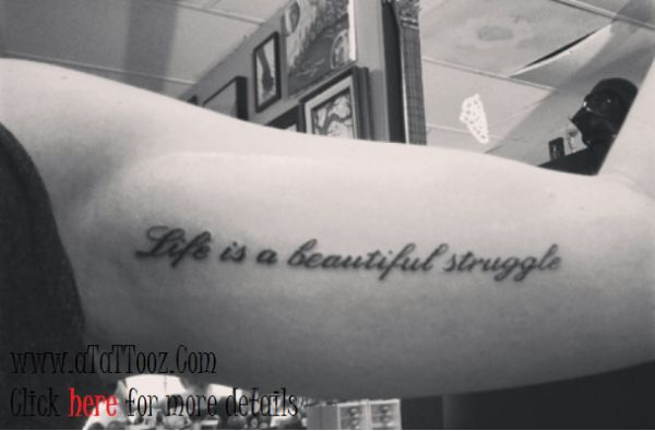 Beauty Quote Tattoo Design on Bicep #Biceptattoos #menstattoos #quotetattoos