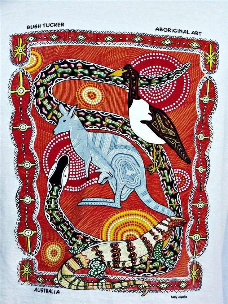 Australlia  t shirt size small Sm tan short sleeve bush tucker aboriginal art #Shirt #Fashion