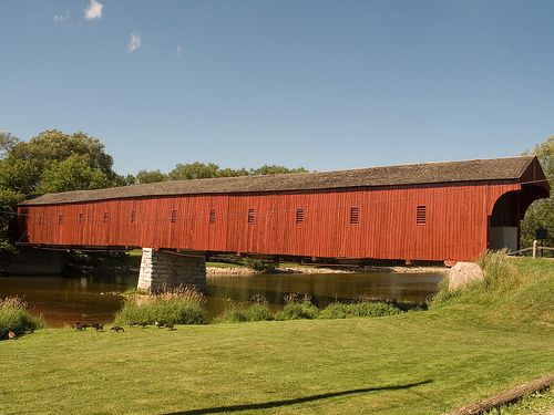 The West Montrose Covered Bridge on the Grand River, Ontario, Canada. It's known locally as the Kissing Bridge. Photo: gojumeister