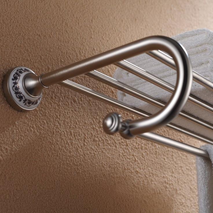 Kraus Apollo Bathroom Accessories Bath Towel Rack With Towel Bar Brushed Nickel Kea 16542bn