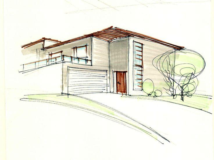 skica - rodinný dům family house study