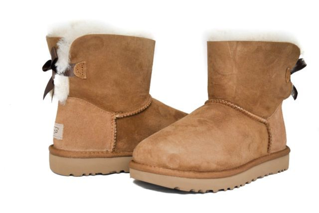 Ugg Women S Mini Bailey Bow Boots Ii 1016501 Chestnut Sz 5 11 New Womens Uggs Boots Bow Boots