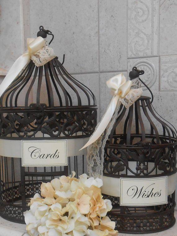 Birdcage Wedding Card Holder / Rustic Burlap Wedding by ThoseDays