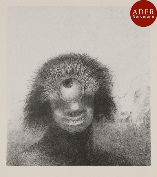 Odilon Redon (1840-1916) Le Polype difforme flottait sur les rivages, sorte de cyclope souriant et hideux. Pl. de l'album Les Origines. 1893. Lithographie. 192 x 213 (au chine). Mellerio 47. Rarissime… - Ader - 12/05/2017
