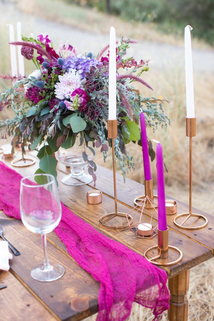 Wild Rustic Bohemian Wedding Inspiration in Accented in Shades of Plum