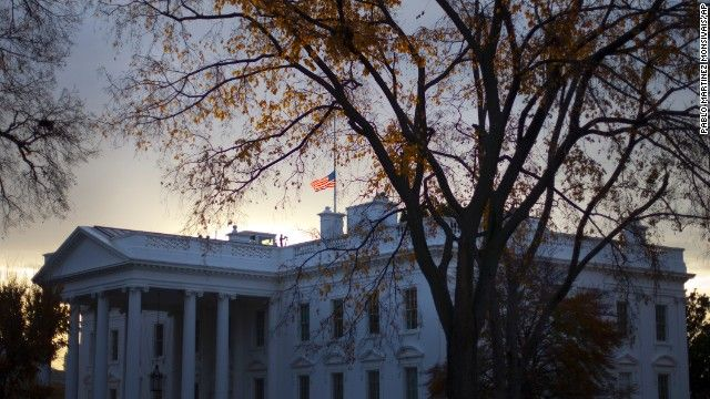 November 22, 2013: The flag on the White House at half-mast to commemorate JFK. www.lberger.ca