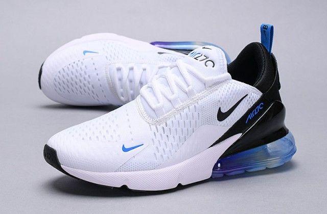 Nike Air Max 270 White Blue Black Multi Color Ah8050 300 Trainer Men S Women S Running Shoe Nike Running Shoes Women Nike Shoes Air Max Womens Running Shoes