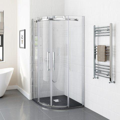 900x900mm Quadrant Slate Effect Shower Tray & Chrome Waste