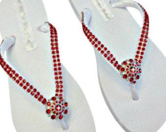 Red Rhinestone Flip Flops - Bridesmaid Flip Flops - Bridal Flip Flops - Wedding Beach Shoes - Red Wedding - Beach Wedding - Bling Flip Flops