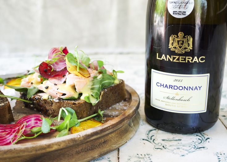 Open Sandwich paired with the Lanzerac Chardonnay