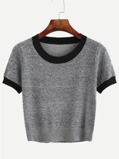 Camiseta de punto ribete en contraste - gris