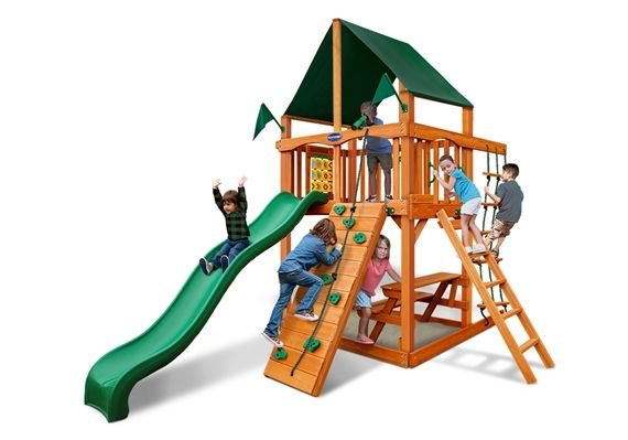 It's time to unwind and enjoy watching your child play on the Horizon Tower Wood Playset with Natural Cedar by PlayNation. We help you escape the oridnary with great children's wood swing sets. Go ahead and order yours today!