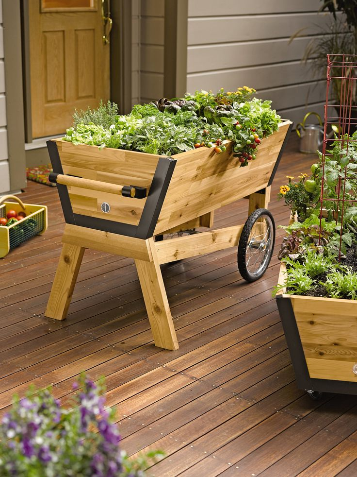 """Rolling Elevated Planter Box: U-Garden Raised Planter 