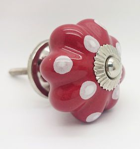 Cranberry Polka Dot Cupboard Door Knob Drawer Handle