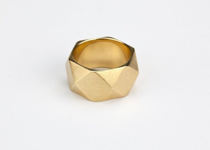 simple brushed gold ring