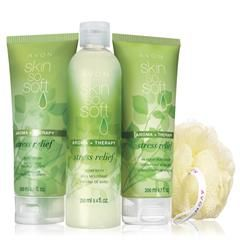 Skin So Soft Aroma + Therapy Stress Relief Gift Collection. Help calm and relax your body iwth the soothing scent of the eucalyptus and geranium.  A $23.99 value, collection now $9.99  louisesmalley.avonrepresentative.com