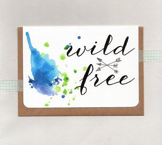 WILD & FREE . greeting card . art . mini print . by ThePaisleyFive