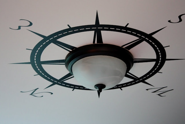 COMPASS ROSE around ceiling fixture.  Might have to make it bolder to work with the ceiling fan in what will be the boys' room.