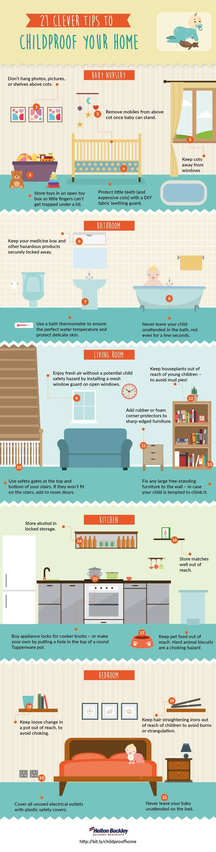 21 Clever Tips To Childproof Your Home #Infographic #Baby #Home