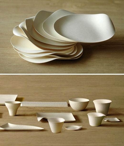 The Japanese WASARA tableware above literally has to be seen to be believed.  It is so so beautiful.  Made from a combination of reed, bamboo and bagasse (sugercane waste product), it feels soft and velvety, it holds your food / liquid for one-time-use… and it is completely compost-able afterwards.