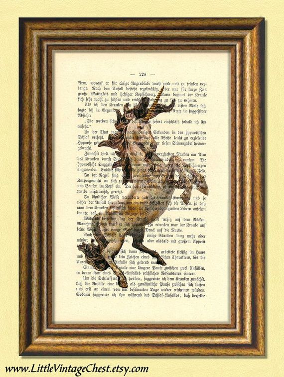THE HEALING UNICORN  Dictionary art  Wall by littlevintagechest, $7.99