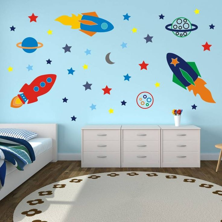 Space rockets wall stickers habitaciones ni a vinilos y for Stickers habitacion nina