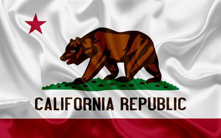 Download imagens Califórnia Bandeira, bandeiras dos Estados, bandeira do Estado da Califórnia, EUA, estado da Califórnia, urso