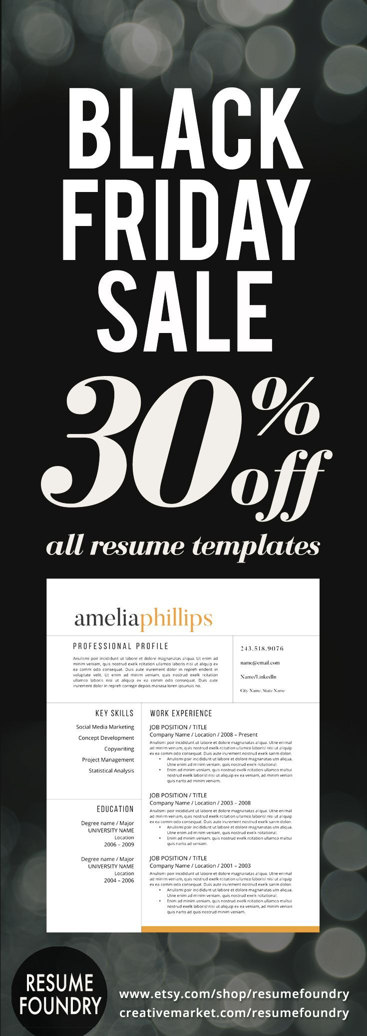 Black Friday Sale for Resume Templates Choose