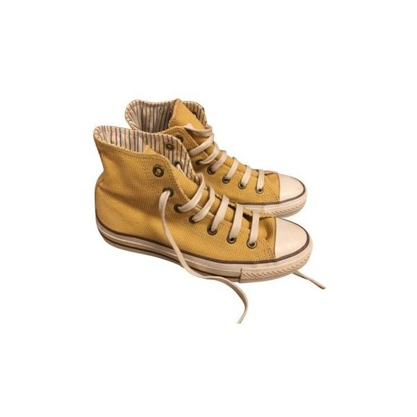 Converse Yellow Athletic Shoes ($64) ❤ liked on Polyvore featuring shoes, sneakers, converse footwear, yellow shoes and converse shoes