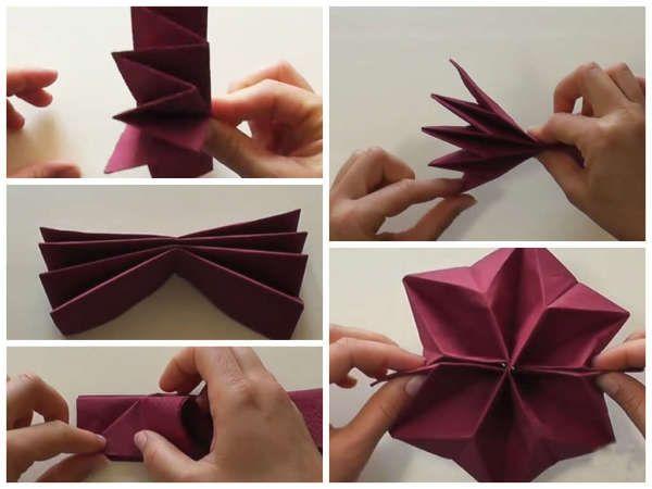 Салфетка «Цветок лотоса» В этом варианте складывания салфетки, все достаточно просто, на первый взгляд. 1. салфетка складывается таким образом, что в результате на первом этапе у нас получается сложенная на 1/2 салфетка, в которой нижний и верхний згибы загнуты вовнутрь, а средний наружу.
