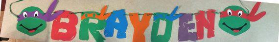 TMNT Die Cut Banner with Ninja Turtle or Pizza by LeslisDesigns, $15.00