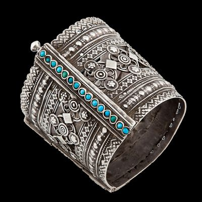 Another excellent piece of jewellery that cannot fail to attract comment. It is again so easy to wear - dressed up or dressed down it oozes style. Whether with casual day wear or out in a chic bar or club and even down at the beach, this covetable piece of wearable art will turn heads and evoke envy.   Silver and Turquoise Bracelet | Afghanistan | Circa 1920 | Wrist Dia 7cm | Height 5.2cm | 92g |    £600 | www.rabari.co.uk