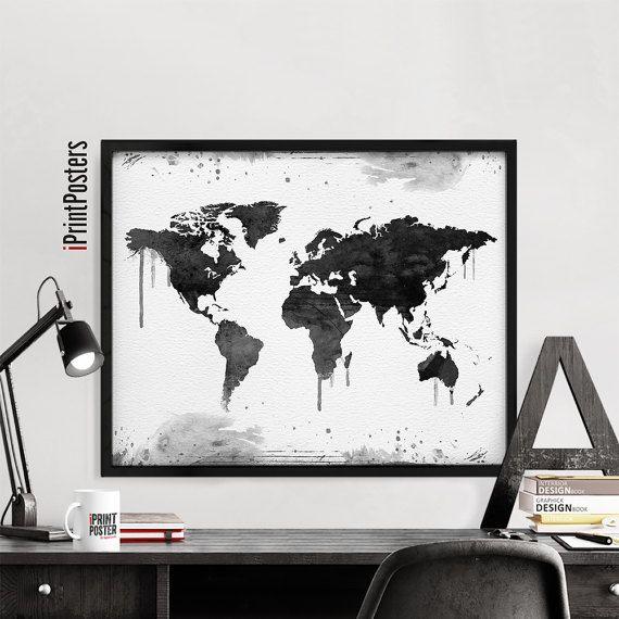 Mejores 109 imgenes de world map posters en pinterest decoracin world map poster travel map art black white by iprintposters gumiabroncs Images