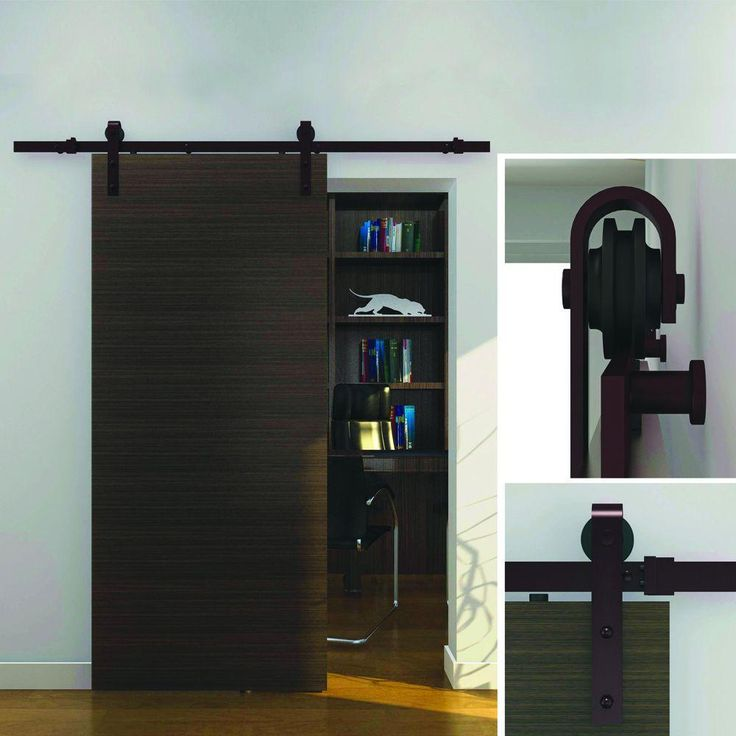 Crown metalworks dark oil rubbed bronze decorative sliding door hardware 12590 at the home depot Barn door track hardware home depot