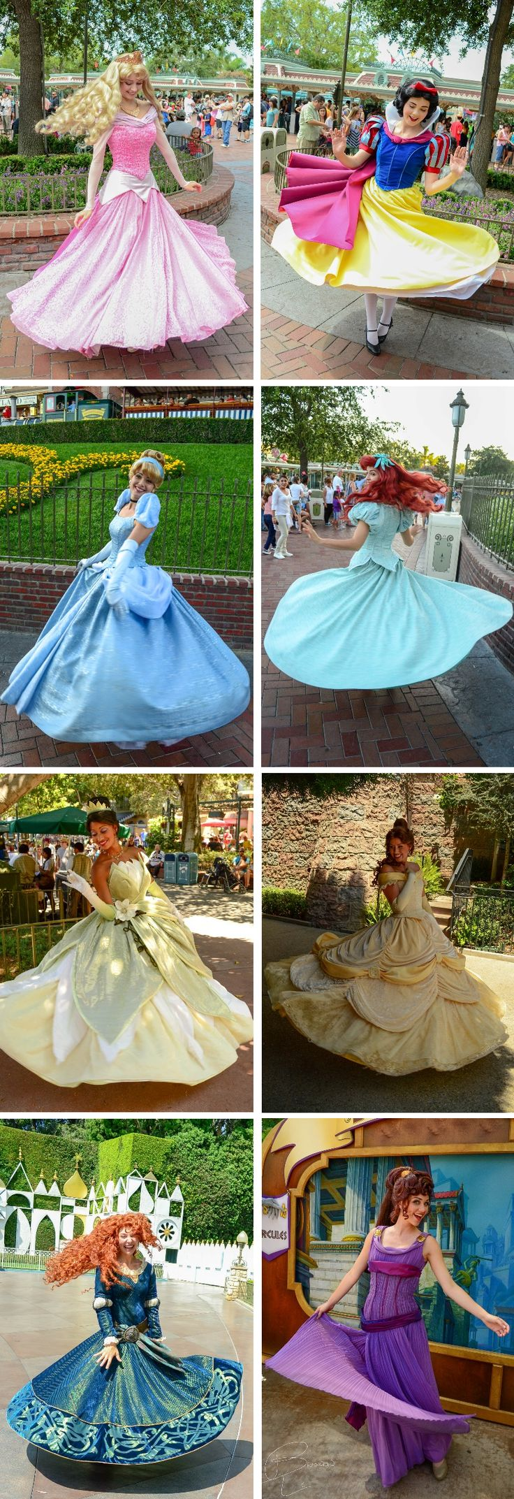 """Can you twirl for us?"" - Aurora, Snow White, Cinderella, Ariel, Tiana, Belle, Merida, & Megra."