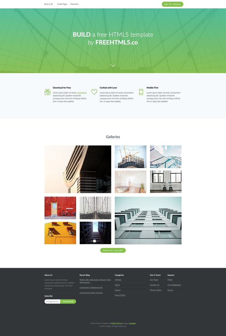 Build is is a free responsive HTML5 and Retina ready Bootstrap Business website template. The hero section of this template uses a gradient overlay to beautify the content. Build template features components such as responsive tabs, accordion, sliders and many more.