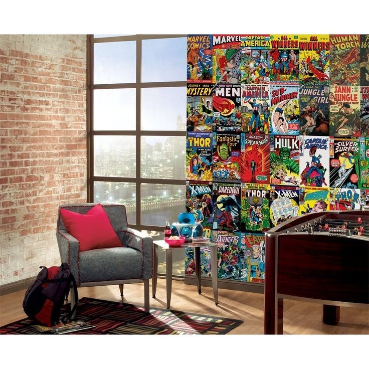 Marvel comics wall mural. This is happening when I get my own place!