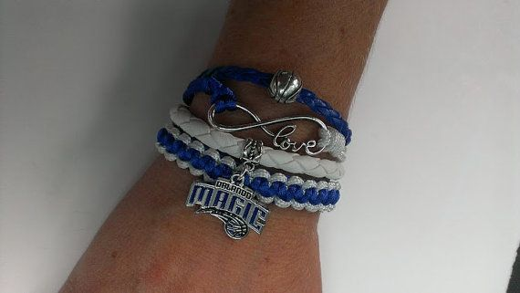 Orlando Magic basketball love infinity para cord macrame 4 in one bracelet  ! Orlando Magic basketball  bracelet !