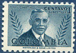 Pompilio Martinez - Colombia 1952 Francobolli Medicina - Personaggi famosi - Famous People - Medicine Stamps