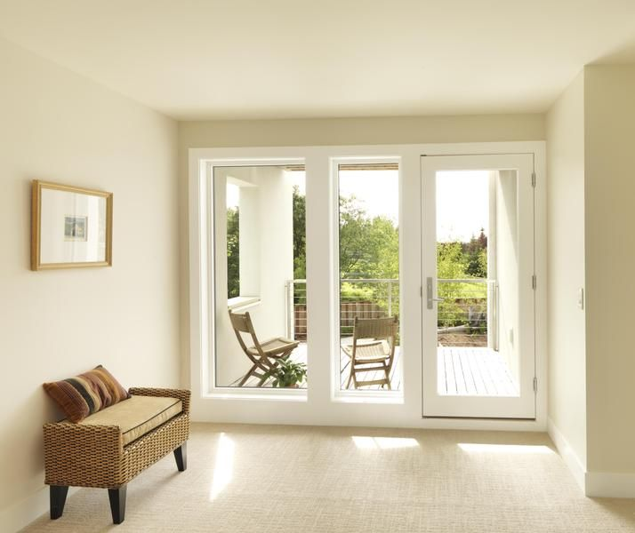 White Painted Custom Wood Swinging Patio Door By Jeld Wen