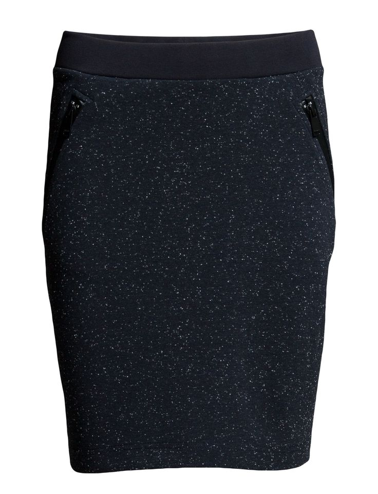 DAY - 2ND Spring Angled zip pockets Stretch fabric Thick elastic waist Chic Feminine Refined Sharp Speckled Skirts Skirt