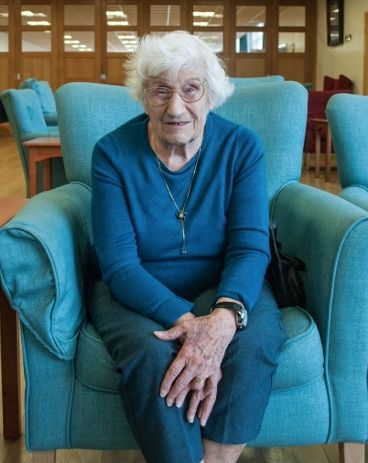 """""""I started my career in the women's Auxiliary Air Force as a Plotter based in Bath underground for three years in 1941 when I was 17, until I left to be part of No11 Fighter Command in an underground bunker in Uxbrigde. - My macula was damaged in both eyes and therefore I can only see the outlines of people and things meaning I have no central vision."""" Nadia, aged 90, is one of our blind veterans at the Llandudno centre.  #noonealone #BlindVeteransUK"""