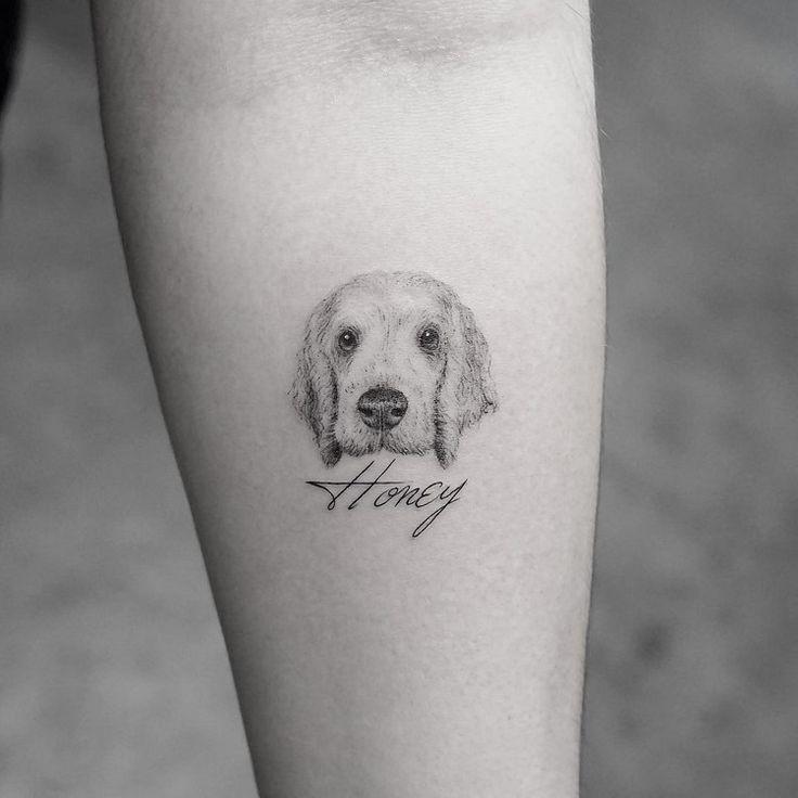 fotorealistische Tattoo Motive - kleines Hund Tattoo