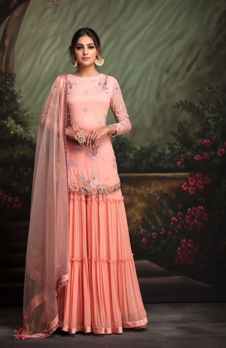 Peach Floral Embroidered Sharara
