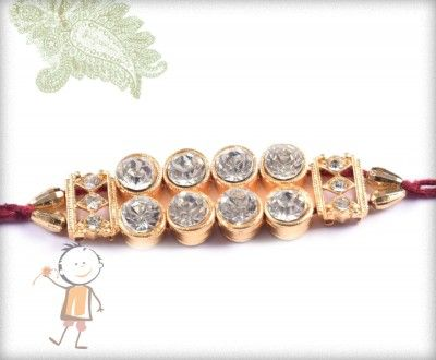 buy online rakhi - #Designer #Diamond #Traditional #Rakhi, Stunning Diamond Rakhi, surprise your loved ones with roli chawal, chocolates and a greeting card as it is also a part of our package and that too without any extra charges. http://www.bablarakhi.com/